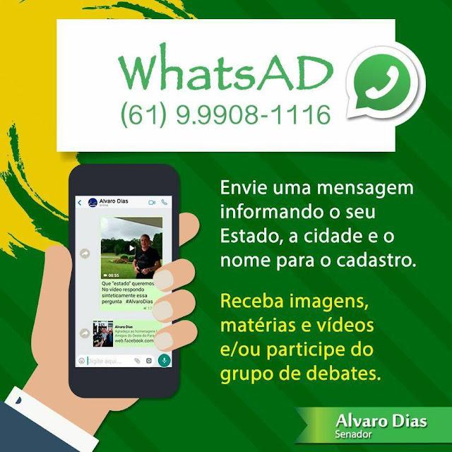 Mande a sua mensagem para Alvaro Dias e participe