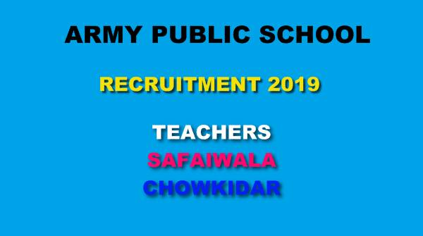 Army Public School Nagrota Jobs 2019 Apply For Teacher