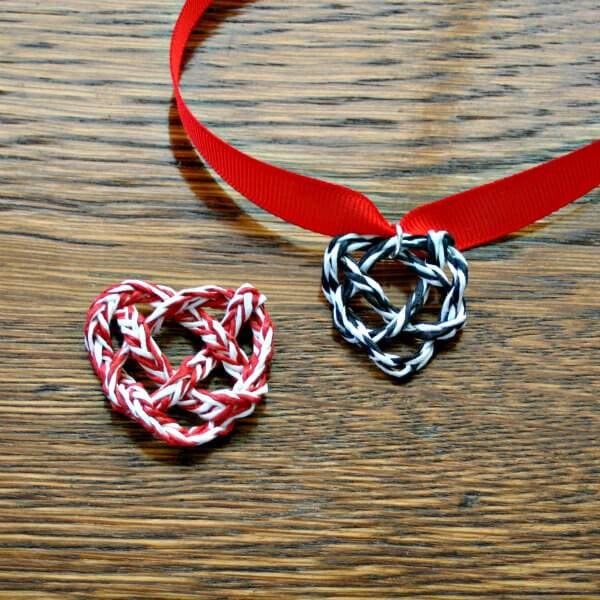 paper twine woven celtic knot heart pendants