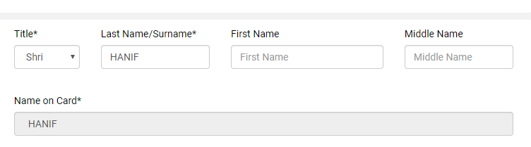 Fill your name on PAN Card