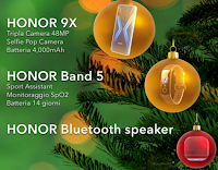 Logo Concorso ''Honor Your Holidays'': vinci gratis Honor 9X,  Band5 e Bluetooth Speaker