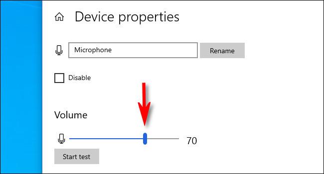 في شاشة خصائص الجهاز ، استخدم شريط تمرير الصوت لضبط مستوى إدخال الميكروفون.