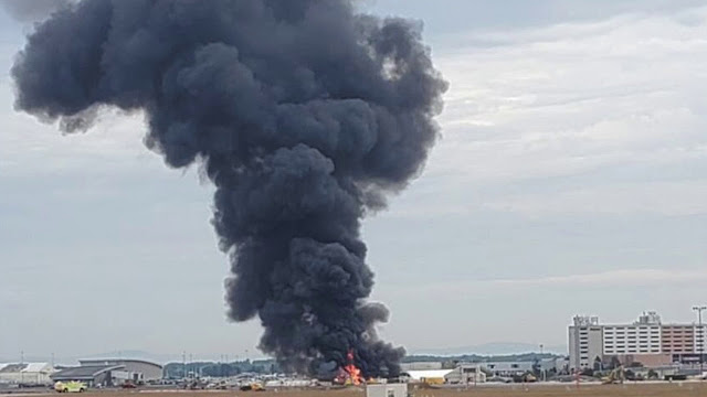 "Image Attribute: A World War II-era B-17 ""Flying Fortress"" Crashes at Bradley International Airport, CT. / Source: Youtube Screengrab"