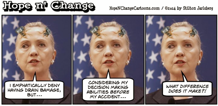 obama, obama jokes, cartoon, humor, political, hope n' change, hope and change, stilton jarlsberg, conservative, hillary, clinton, brain damage, concussion, benghazi, foster