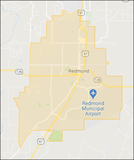 Map showing boundary of Redmond Oregon Dial-a-Ride.