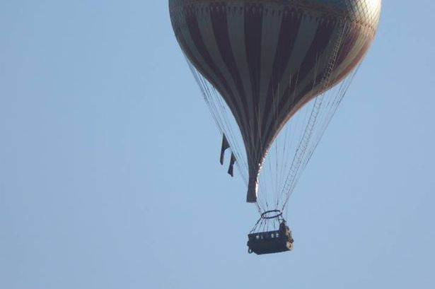 The hot-air balloon filming The Aeronauts for Amazon