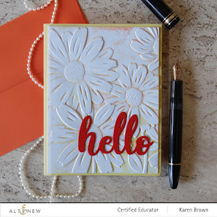 Yellow and Orange handmade 3D embossed daisies card.