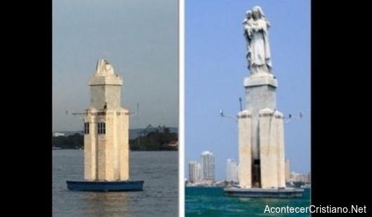 Estatua católica en bahía de Cartagena destruida por rayo