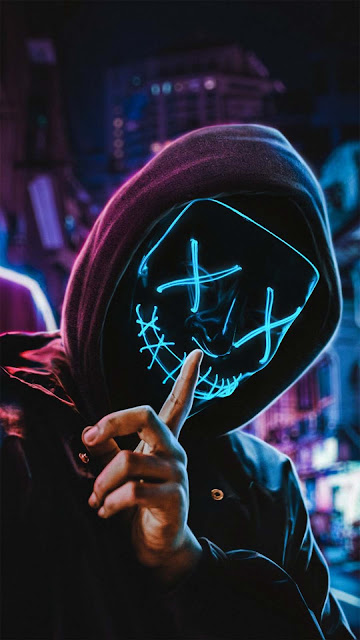 21 Cyberpunk Neon Anonymous Mask Wallpapers HD for iPhone and Android