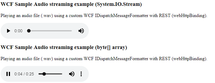 Coding Grounds: Loading HTML5 Audio from byte array in WCF