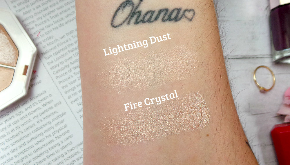 Highlighter swatches. top is lightning dust and bottom is fire crystal. They are pearlescent
