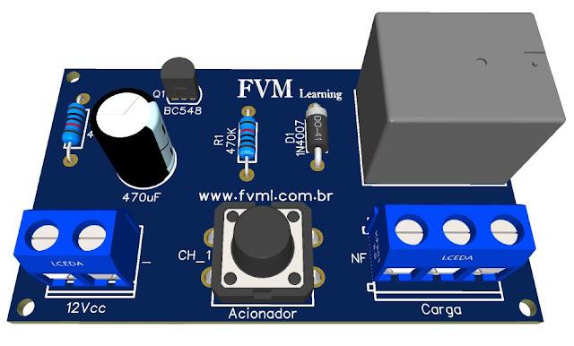Simples Circuito Temporizador usando um Transistor BC548 + PCI