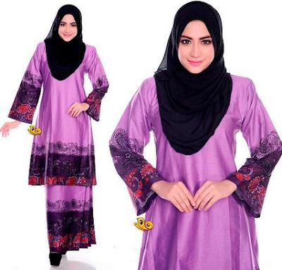 Model terbaru baju kurung muslim motif batik