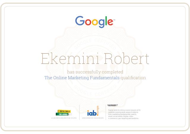 Ekemini Robert Google digital skills certificate