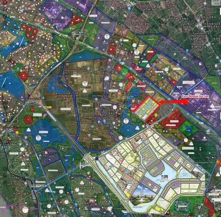 Vị trí của Eurowindow Twin Parks Trâu Quỳ Gia Lâm trên bản đồ quy hoạch khu vực.
