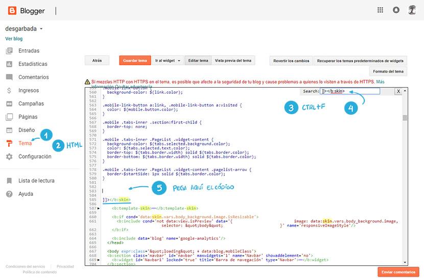 Dónde copiar el CSS del botón de descargas en la pantilla blogger