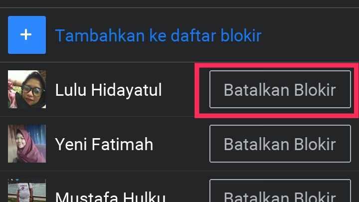 cara menghapus nama di daftar blokir instagram