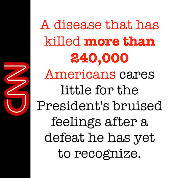 A disease that has killed more than 240,000 Americans cares little for the President's bruised feelings after a defeat he has yet to recognize. — Stephen Collinson, CNN