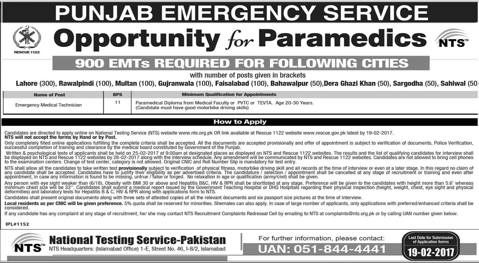 Punjab Emergency Service Rescue 1122 Jobs 2017 NTS Form