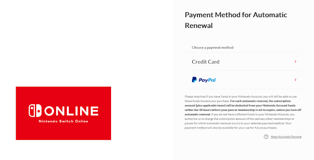 Nintendo Switch Online payment method for automatic renewal trying to manually renew