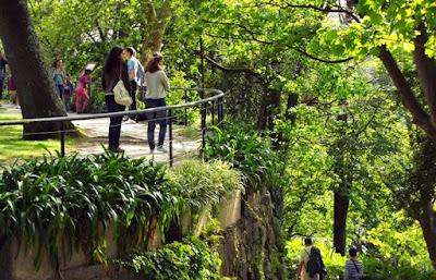 Pessoas num jardim