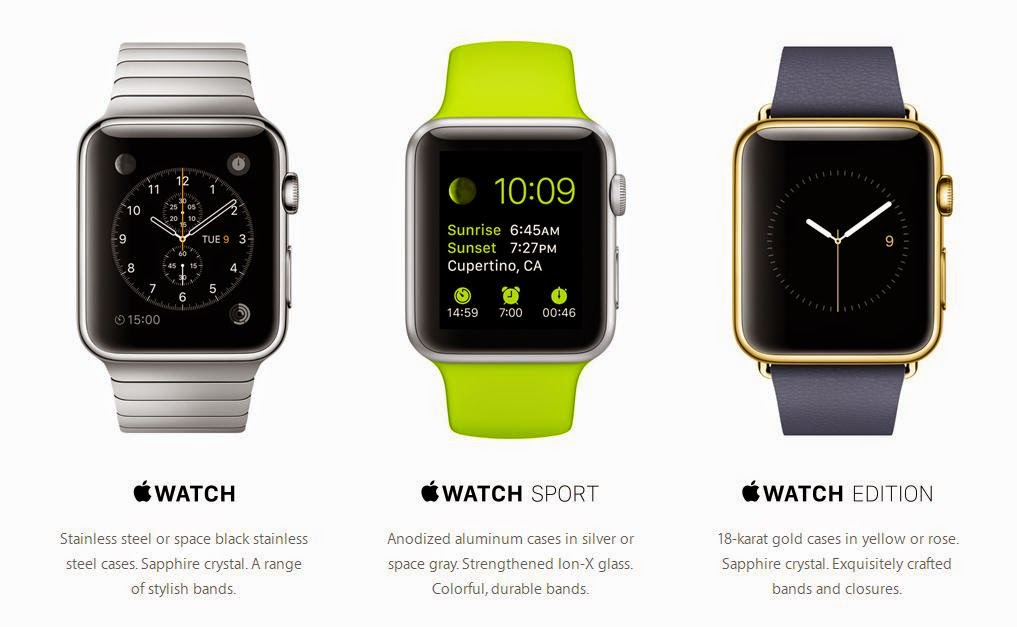Apple Watch, Apple Watch Sport dan Apple Watch Edition