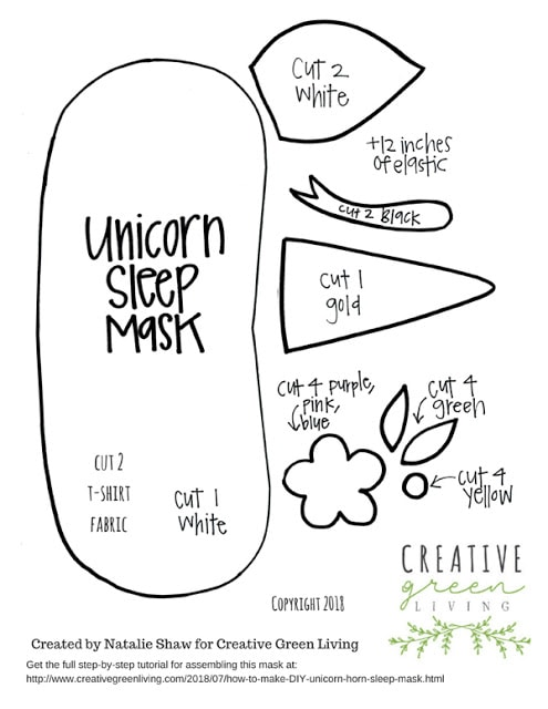 Download the printable template to make a unicorn horn and ears sleep mask.