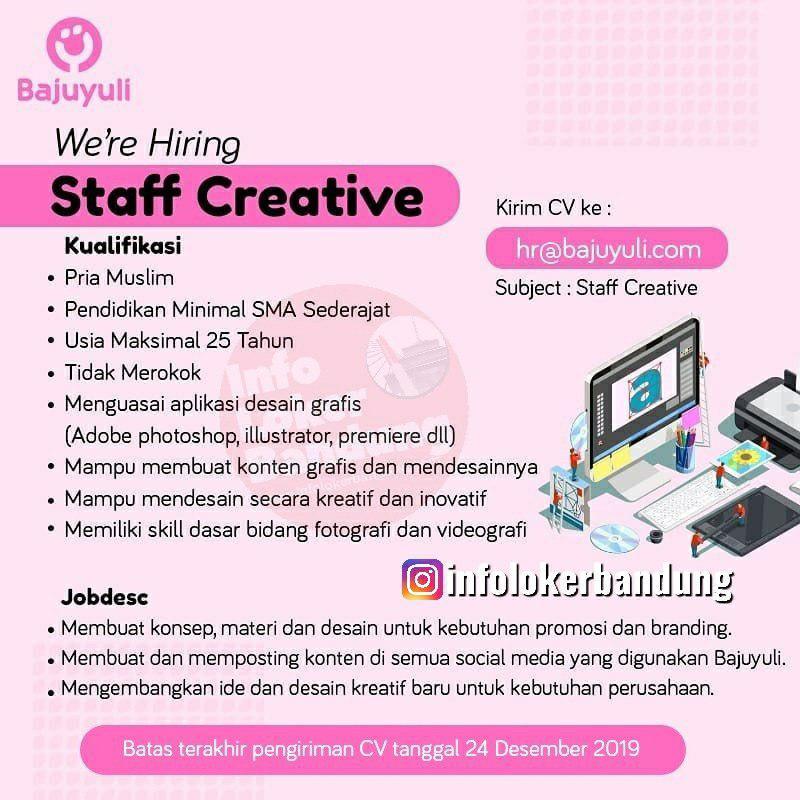 Lowongan Kerja Staff Creative Bajuyuli Bandung Desember 2019