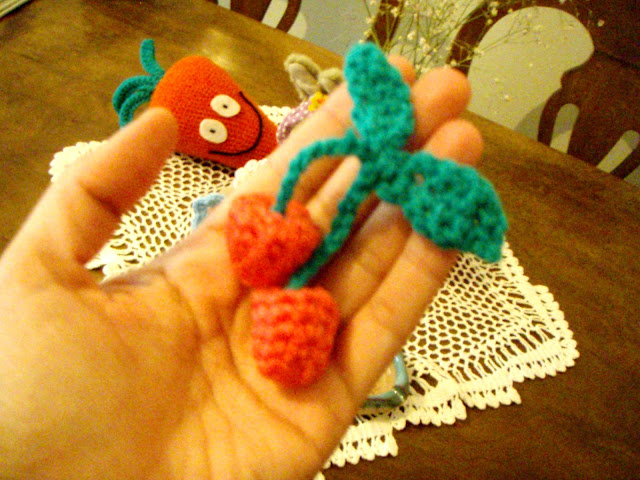 crochet cherries stuffed plush toy fruit cherry