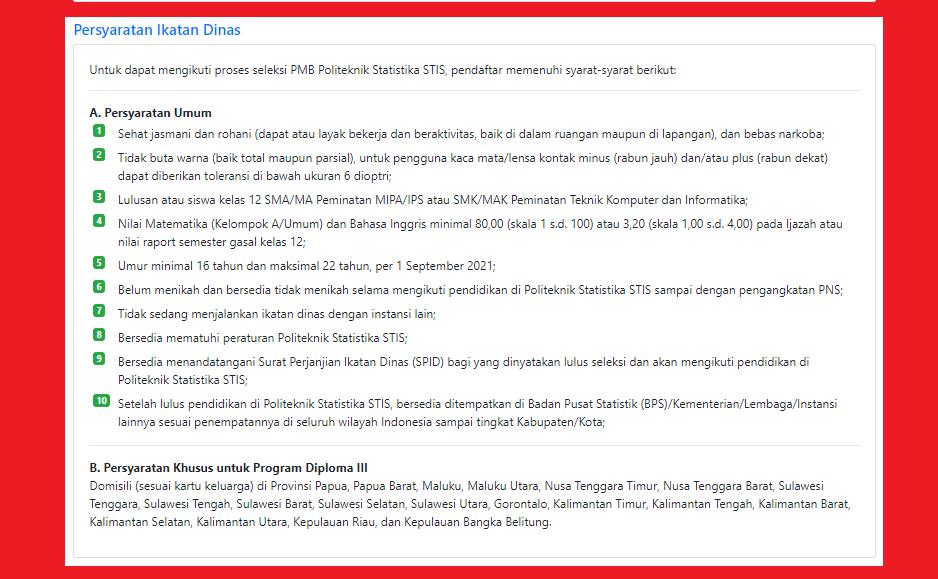gambar Pendaftaran PMB Politeknik Statistika Stis Tahun Akademik 2021/2022