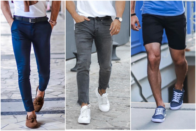 Men wearing different types of pants with polo shirts.