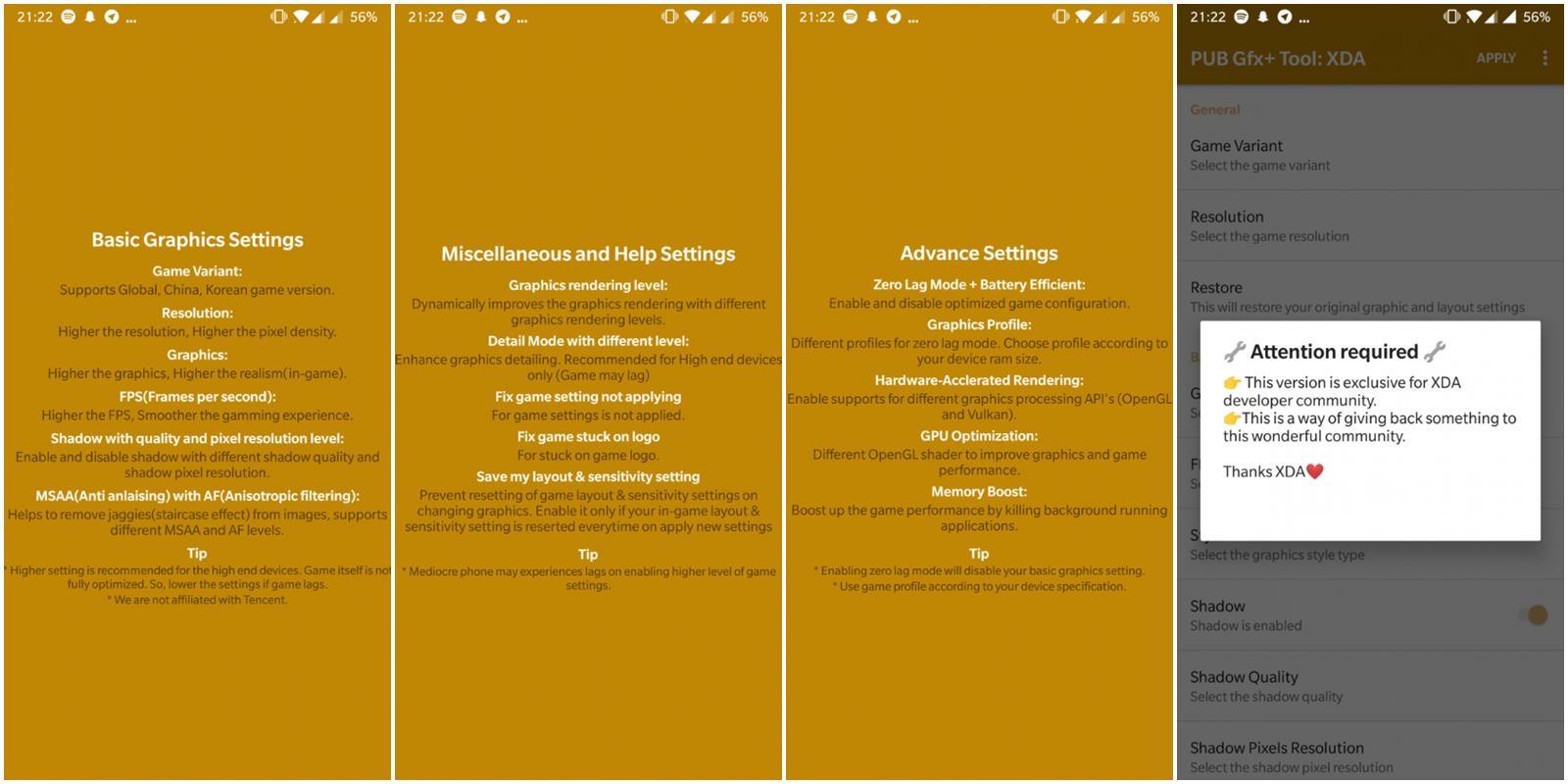 PUB Gfx+ tool best settings screenshots