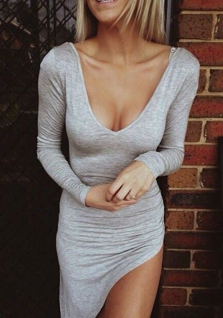 Light Grey Plain Irregular V-neck Long Sleeve Dress