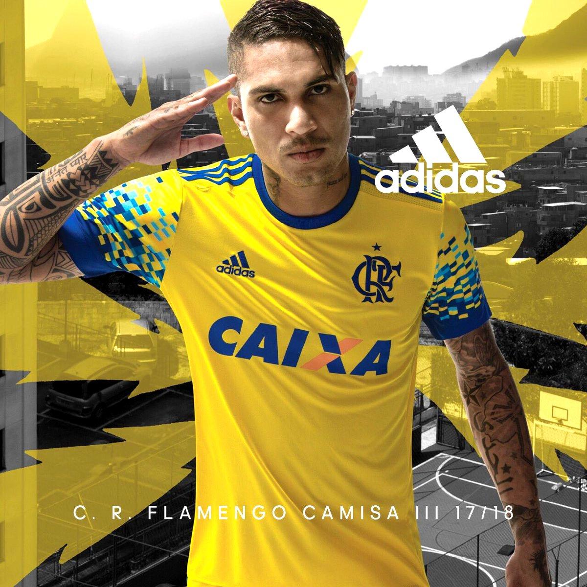Guerrero vestindo a nova camisa amarela do Flamengo (Wallpaper) - Foto   Divulgação 33ea495fc9a30