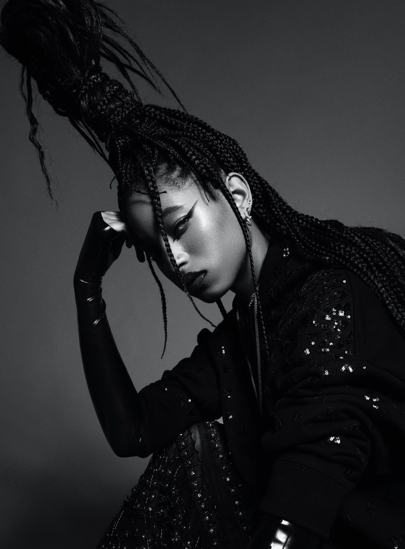 Willow Smith poses in black and white portrait