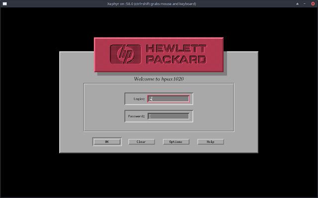 HPUX 10.20 HP-VUE VUE Login Screen on Qemu on FreeBSD qemu-system-hppa PARISC