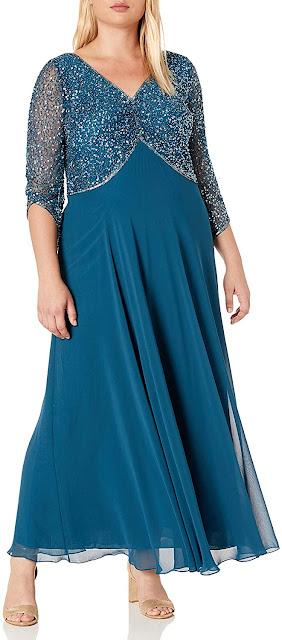 Plus Size Teal Chiffon Bridesmaid Dresses