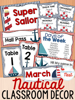 Nautical Themed-- Classroom Decor Collection to transform your classroom- pick a scheme or a theme to make your classroom decorated and organized