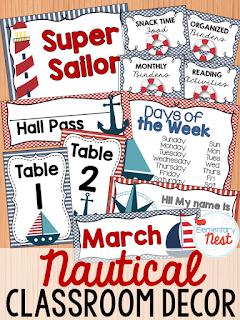 Nautical Themed-- Classroom Decor Collection to transform your classroom- pick a scheme or a theme to make your classroom decorated and organized