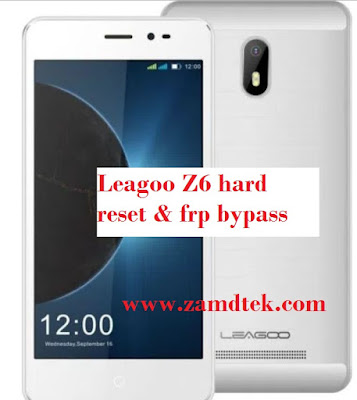 Leagoo Z6 6.0 hard reset, pattern removal and frp bypass