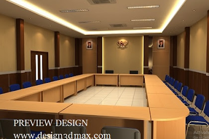 Desain ruang rapat nuansa hpl dan wallpaper vinil