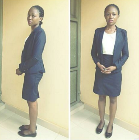 Lady protests after she was banned from attending classes for wearing mini-skirt