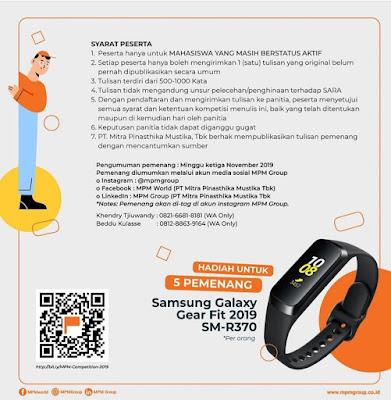 Kompetisi Menulis MPM Tingkat Nasional 2019, Hadiah 5 Samsung Galaxy Gear Fit 2019 SM-R370