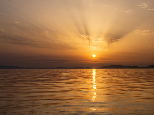 Photo of a beautiful sunset that we watched from our boat while out on the Solway Firth last month