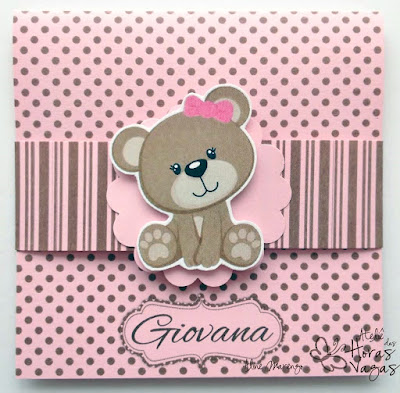 convite artesanal aniversário infantil ursinha poá marrom rosa menina 1 aninho delicado bebê