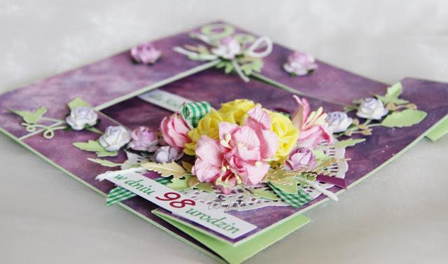 kartka składak, urodziny, wyjątkowy prezent dla babci, kartka w pudełku