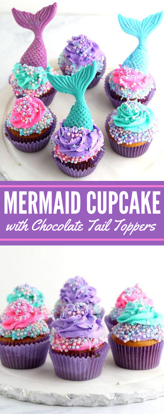 MERMAID CUPCAKE RECIPE WITH CHOCOLATE TAIL TOPPERS #desserts #cake #sweets #cupcake #partycake
