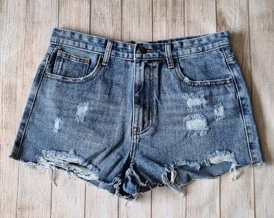 demim shorts on a wooden floor
