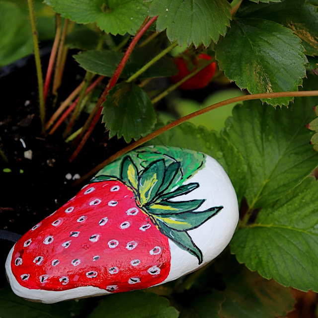 rock painting strawberry