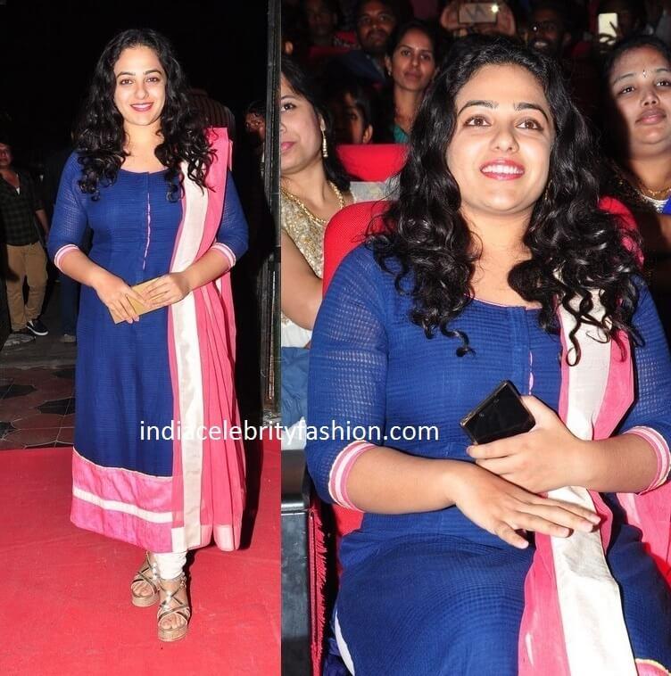 Nithya Menon in Salwar Kameez at okka ammayi thappa audio launch